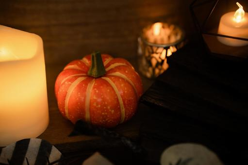 Candle pumpkin autumn