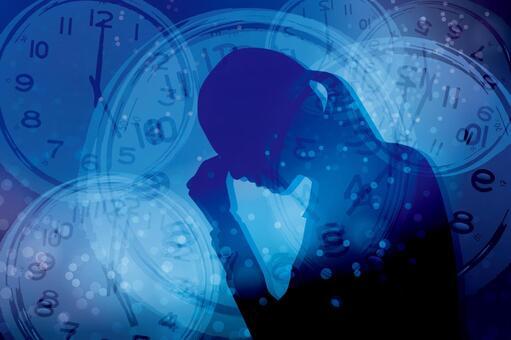 스트레스를 안고있는 여성과 시간 - 파란색 배경
