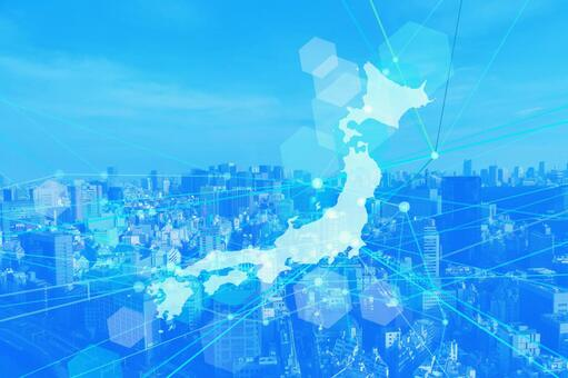Japanese network technology cityscape blue background material