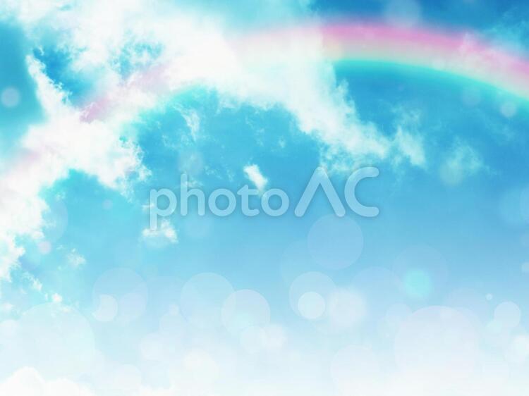 青空と虹の背景の写真