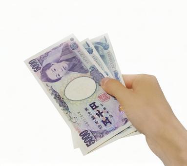 Bills and hands (5,000-yen bills and 1,000-yen bills) 1223