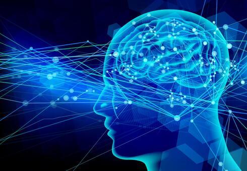 Cranial nerve transmission image-blue light background