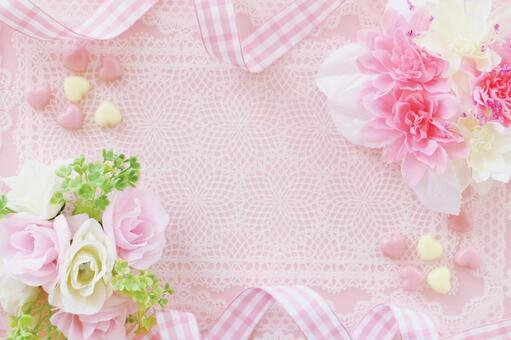 Flower and ribbon frame