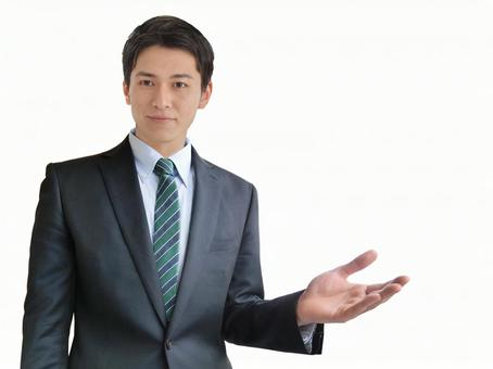 Men guiding business points-white background