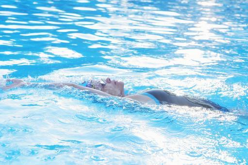 Woman backstroke in the pool 3