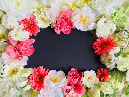 Pink and white flower frame blackboard