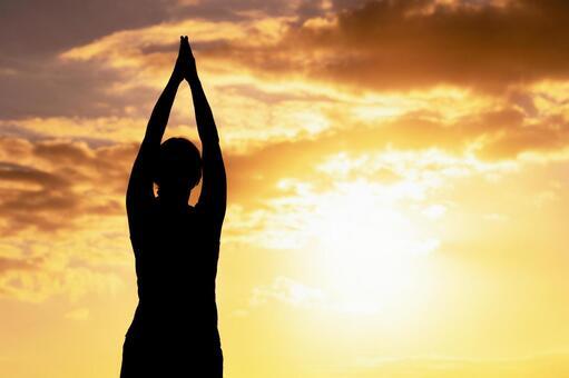 Women's health image sunset background
