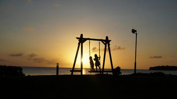Sunset and swing