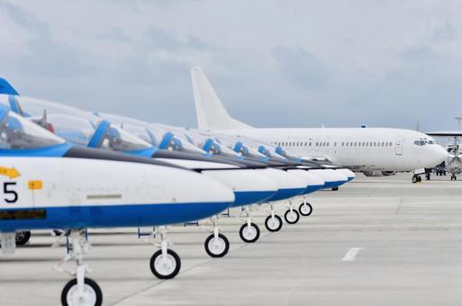 Blue Impulse and passenger plane