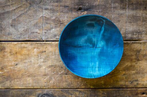 Blue wooden plate