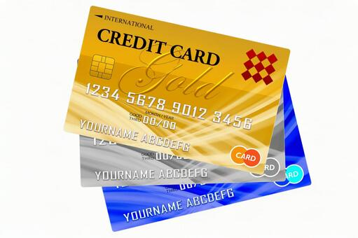 3 credit cards White background