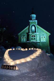 Otaru snow light path (Tomioka church) with flash