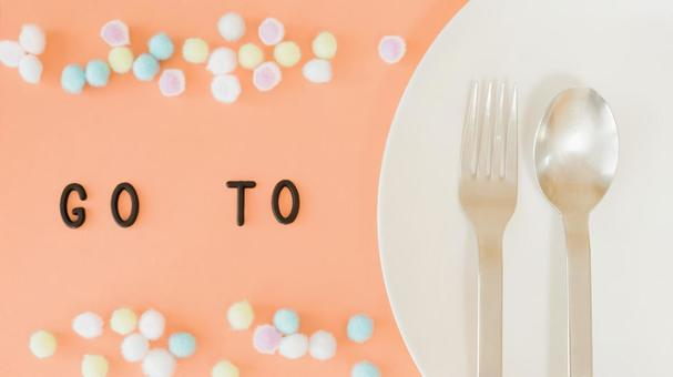 GO TO EAT image material 01 (orange, pattern background)