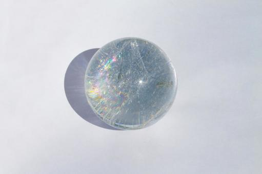 Simple natural stone with crystal ball rainbow