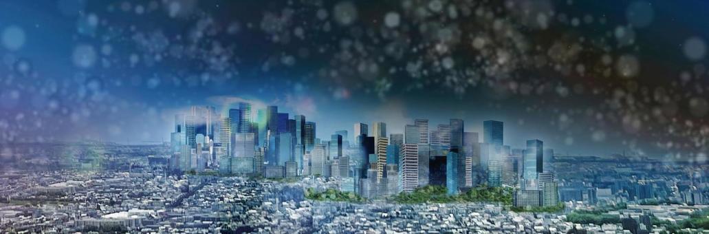 Skyscrapers in the city Night cityscape image