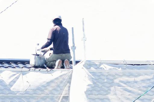 맑은 날의 지붕에 a