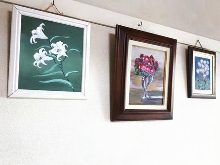 3 flower oil paintings _ from left