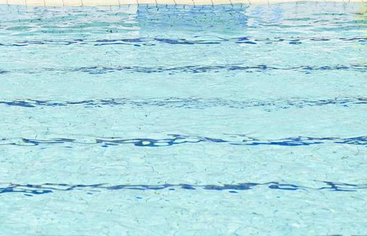 Pool for swimming races filled with water