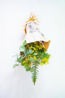 미모사와 유칼립투스의 꽃다발