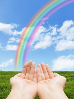 Rainbow and meadow and the helping hand