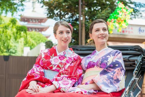 Women's Yukata rode rickshaw women Foreign tourists 27