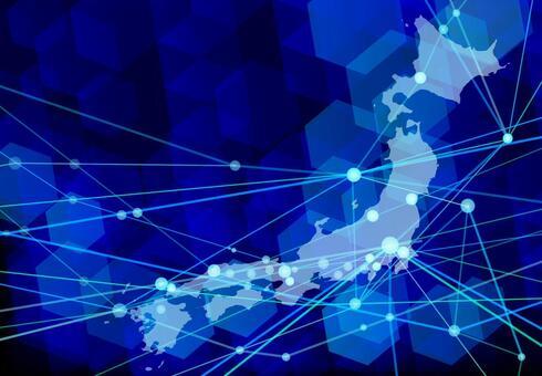 日本網絡技術抽象藍色背景素材
