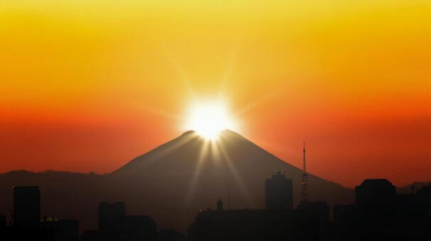 Fuji and the first sunrise seen from Tokyo