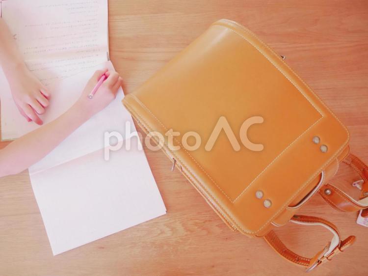 宿題中の写真