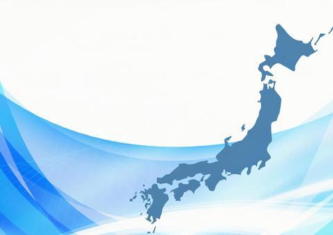 日本地圖和抽象藍波