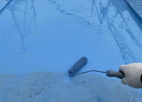 ウレタン防水 ガラスメッシュ貼り