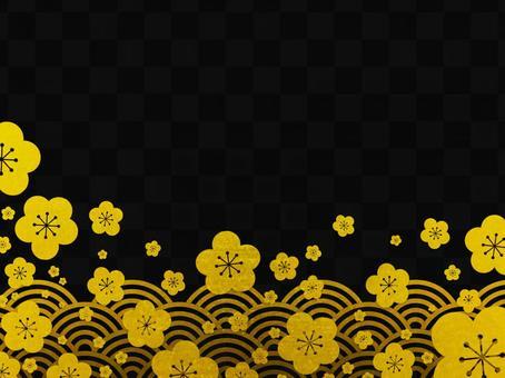Plum blossom background material (black) .jpg