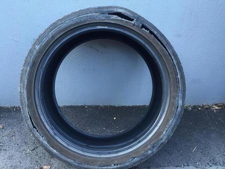 Tire puncture sidewall broken