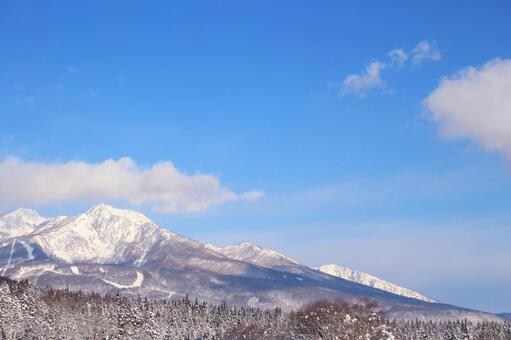 Scenery of snowy mountains