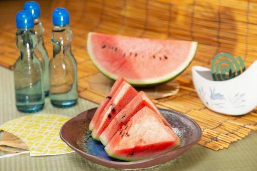 Image of Obon and summer vacation Watermelon and mosquito coil