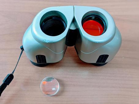 Binoculars with the lens removed