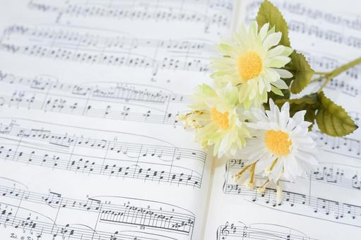 Music image / sheet music and flowers