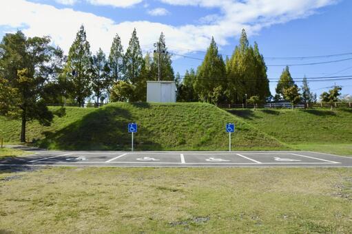 녹색 가득한 공원 내 장애인 용 주차 공간