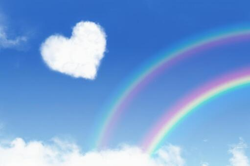 Lots of happiness! Heart cloud and double rainbow