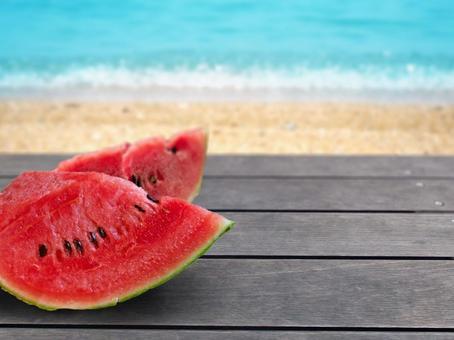 Sea and watermelon