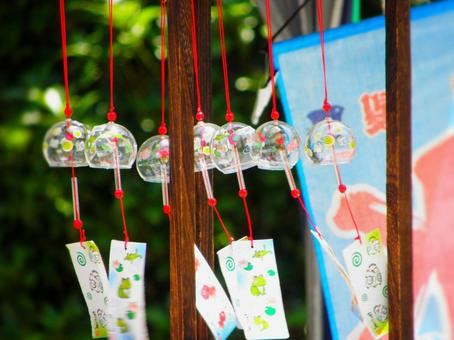Wind chimes swaying in the wind