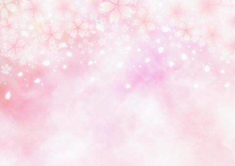 환상적인 벚꽃 눈보라 봄 배경 소재 (핑크)