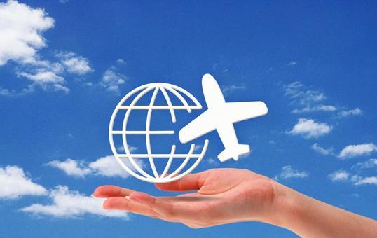 해외 여행 아이콘과 손의 이미지 빈 백