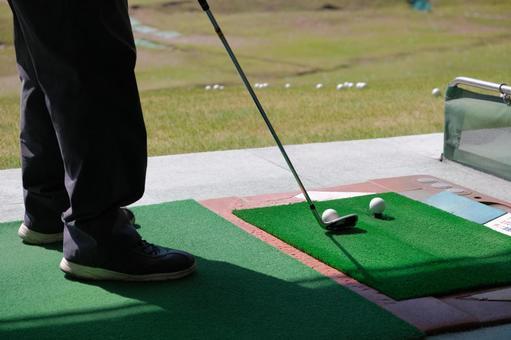 Image material of driving range Golf club, golf ball, men's feet