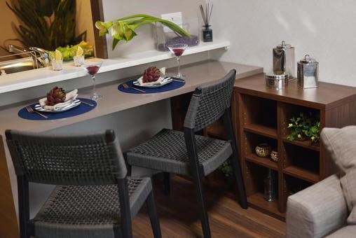 Dining table where you can enjoy an evening drink