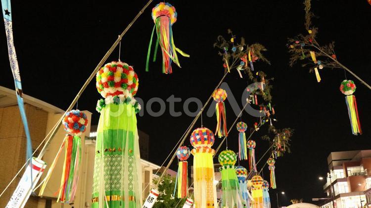 愛知 安城 七夕まつり 祭り まつり 飾り かざり 夏 夜の写真