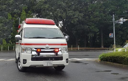 The ambulance turned left
