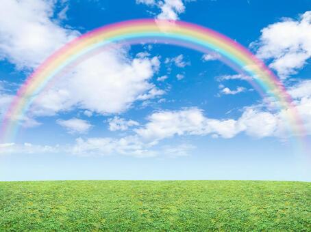 Big rainbow and blue sky