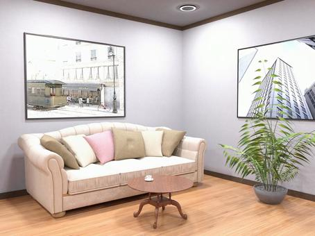 A waiting room with a sofa and a calm atmosphere