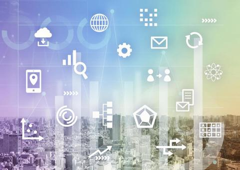 Business tools and iridescent background