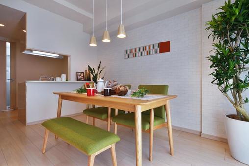 Natural interior dining kitchen